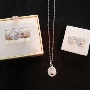 Gorgeous white gold Swarovski Crystal set